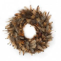 15 Inch Pheasant Feather Wreath - Natural – The Feather Place Country Wreaths, Fall Wreaths, Christmas Wreaths, Country Crafts, Christmas Baubles, Door Wreaths, Feather Wreath, Feather Crafts, Feather Art