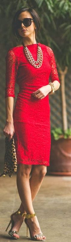 Asos Little Red Lace Dress by Sequins & Things