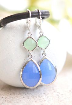 Periwinkle Blue and Mint Dangle Earrings in Silver. by RusticGem