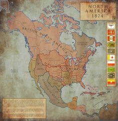 North America in an alternate 1874. North America: 1874 by ~Chanimur on deviantART