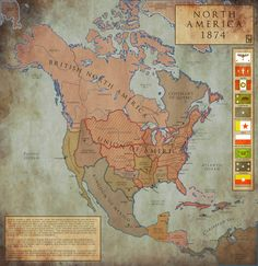 North America in an alternate 1874. North America: 1874 by ~Chanimur on deviantART