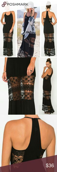 """SOLD OUT Black Lace Paneled Maxi Dress NWT This sexy, fashionable dress is a must have, and it's sold out everywhere! There are lace panels under the arms, around the thighs, and at the bottom to the hem. It also features a tunneled racerback cut and has adjustable straps. The Metal Mulisha logo is subtly embroidered on the back between shoulders. The comfortable, stretch jersey fabric is 95% rayon & 5% spandex. The length is 52"""" HPS (highest point on the shoulders to the bottom hem). I'm…"""