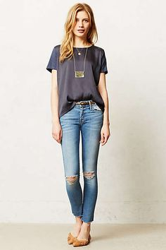 Anthropologie - Mother Looker Ankle Fray Jeans