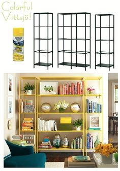 How to Style a Bookcase by Laurel Bern | Westchester County Interiors Ikea Bookshelves painted yellow