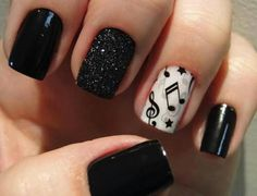 music inspiration nail art...like it with the sparkle black