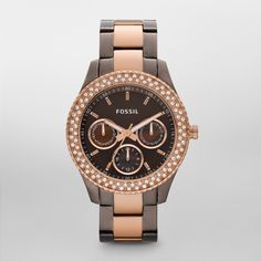FOSSIL® Watch Collections Stella Watches:Women Stella Stainless Steel Watch - Brown and Rose ES2955