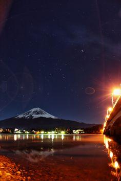 河口湖 星に逆さ富士