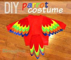 This DIY Parrot Costume was made on a budget for less than $12 using a hoodie and felt! Easy DIY project for anyone and perfect for Halloween!