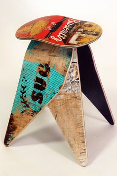 Recycled Skateboard Stool  No.488 by Deckstool. by deckstool