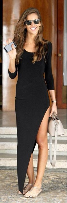 Summer outfit - long maxi black dress, sunglasses