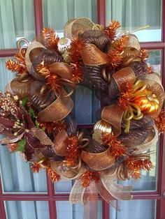 how to make a fall mesh wreath - Google Search