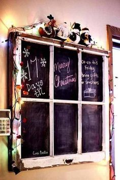 Spray glass in an old window with chalkboard paint