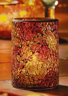 Mosaic Crackle Glass Hurricane #candle