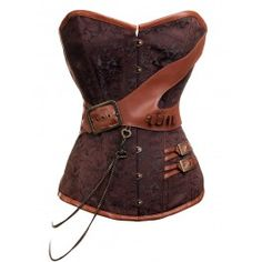 CD-237 Steampunk Brocade Corset with Chain and Belt Detailing