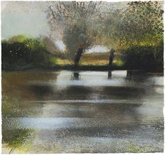 Kurt Jackson Hawthorn and willow. Oxford, Cherwell, Mixed media on paper, 57 x Kurt Jackson, Watercolor Artwork, Watercolor Landscape, Abstract Landscape, Landscape Paintings, St Just, Historia Natural, River Painting, Abstract Geometric Art