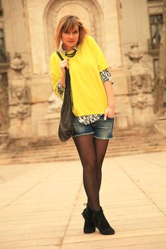 street look french blogger Artlex / fashion blog / yellow style/black and yellow