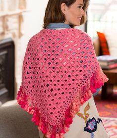 Fringed V-Stitch Shawl Free Crochet Pattern