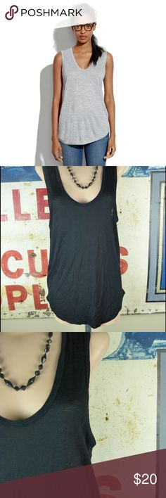 Madewell Draft Tank in Black Sz Medium PRODUCT DETAILS With its flattering scoop neckline and curved baseball hem, this drapey tank is a winner in every color.  True to size. Viscose. Dry clean preferred. Import. Item A3169. Madewell Tops Tank Tops
