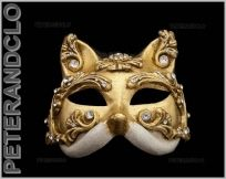 MASQUE DE VENISE GATTO BAROCCO CHAT DORE AUTHENTIQUE EN PAPIER MACHE 221