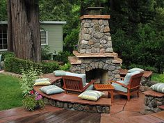 outdoor fireplace love
