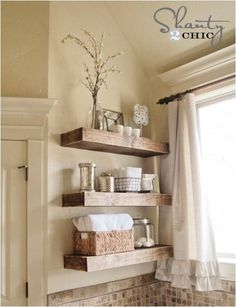 Stained Wood Floating Shelves (perhaps in the sunroom for entertaining pieces) this site is full of projects