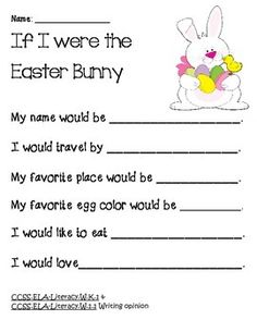 Easter Bunny writing SPRING WRITING--COMMON CORE--K-1 - TeachersPayTeachers.com