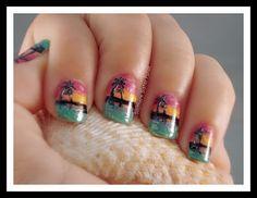 Kokomo sunset nail art with Zoya Nail Polish Beach Collection + Raven, Pippa and Trixie!