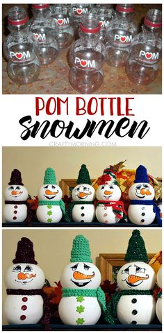 Use an empty pomegranate bottle to make little snowmen crafts! Great upcycle project for winter/Christmas.