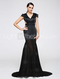 2017 TS Couture® Formal Evening Dress Trumpet / Mermaid V-neck Sweep / Brush Train Chiffon / Jersey with Sash / Ribbon 2017 - S$146.08