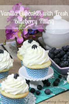YUM... While Blueberries are in season you are going to want to try this light and fluffy vanilla cupcake filled with Fresh Blueberry Filling