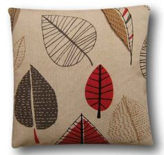 """Cushion Cover Handmade With Maple Berry Red 14"""" Retro Design Scatter Slipcover"""