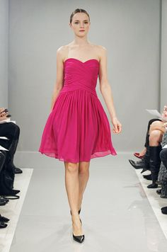 Pink dress from Monique Lhuillier Bridesmaids, Fall 2013.