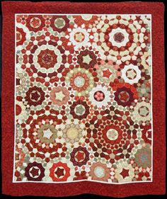 "Red Millefiore by by Dottie Pope. Based on La Passacaglia by Willyne Hammerstein in her book, ""Millefiore Quilts. Circle Quilts, Hexagon Quilt, Hexagons, Dresden Quilt, Millefiori Quilts, Red And White Quilts, Landscape Quilts, Traditional Quilts, Inspirational Artwork"