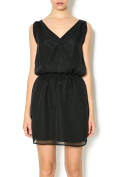 Black dress with subtle sequins, pockets, and an a-line cut. The front and back have a v-neckline.   Sequin Dress by California Moonrise. Clothing - Dresses - LBD Colorado