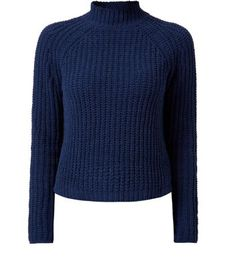 "Prepare for the colder months ahead with this navy knitted jumper - wear with blue acid wash skinny jeans and monochrome print heels to finish the look.- Chenille ribbed knit- High neck- Simple long sleeves- Casual fit- Soft knitted fabric- Basic design- Model is 5'8""/176cm and wears UK 10/EU 38/US 6"