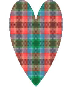 Green blue brown and coral long tartan by crossstitchtheline