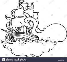 Pirate Fighting Kraken Coloring Page Free Google Search Coloring Pages Kraken Color