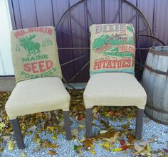 Burlap Padded Chairs ~ Made by my cousin Owenetta Ratts
