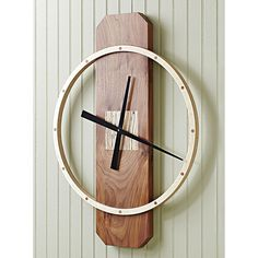 "Big-time wall clock woodworking plan. Build this 30""-tall contemporary timepiece using basic tools and a nifty jig."