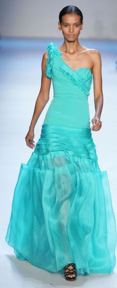 Dress in Turquoise, it is a happy color.