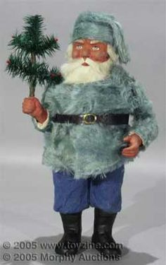 Vintage Belsnickle in a blue fur coat with his feather tree // Photo via web. Merry Christmas To All, Victorian Christmas, Father Christmas, Christmas Items, Vintage Christmas, Christmas Things, Vintage Santa Claus, Vintage Santas, Vintage Toys