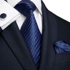 Landisun 206 Navy Blue Solids Mens Silk Tie Set