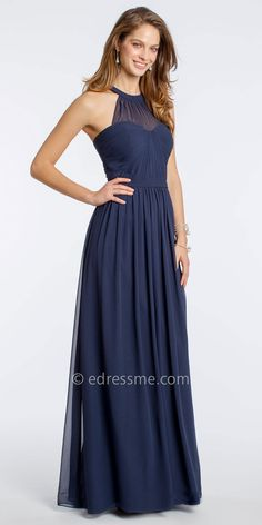 Chiffon Halter Evening Dress With Illusion Yoke Neckline by Camille La Vie