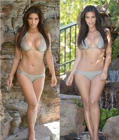 Kim switches to a slightly chunkier green bikini, making the most of her figure
