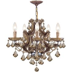Maria Theresa 6-Light Golden Teak Crystal Brass Chandelier ($910) ❤ liked on Polyvore featuring home, lighting, ceiling lights, bronze, crystal chandelier light, crystal hanging lights, crystal chandeliers, golden lighting and crystal chandelier lamp
