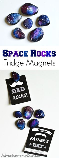 Paint rocks as if they were shards of the night sky and make space rock fridge magnets. Beautiful out-of-the-world craft that can become a kid-made gift for Father's Day. fathers day diy crafts, fathers day ideas for toddlers, fathers day cake ideas Rock Crafts, Crafts To Do, Arts And Crafts, Decor Crafts, Ciel Nocturne, World Crafts, Fathers Day Crafts, Camping Crafts, Summer Crafts