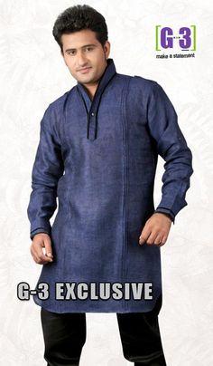 G3 Fashions Navy Blue Linen Short Pathani Kurta.  Product Code : G3-MSP1020 Price : INR RS 2154