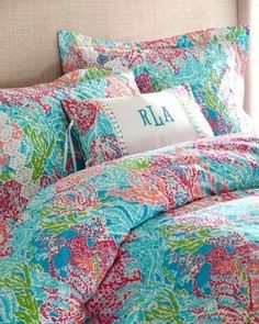 LILLY PULITZER for Garnet Hill Let's Cha Cha Sister Florals Duvet Cover Bedding #LILYPULITZER