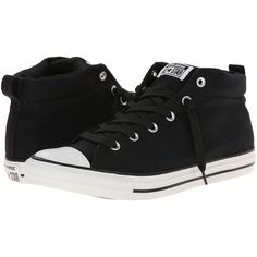 Converse Chuck Taylor All Star Street Color Pop Canvas Mid Lace up... ($39) ❤ liked on Polyvore featuring shoes, sneakers, converse, black, lacing sneakers, canvas sneakers, star shoes, black lace up shoes and star sneakers