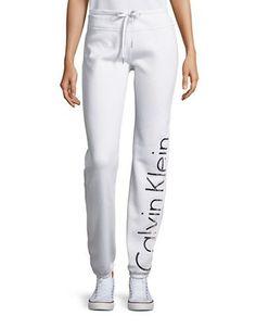 Calvin Klein Performance Logo Drawstring Sweatpants Women's White X-Sm